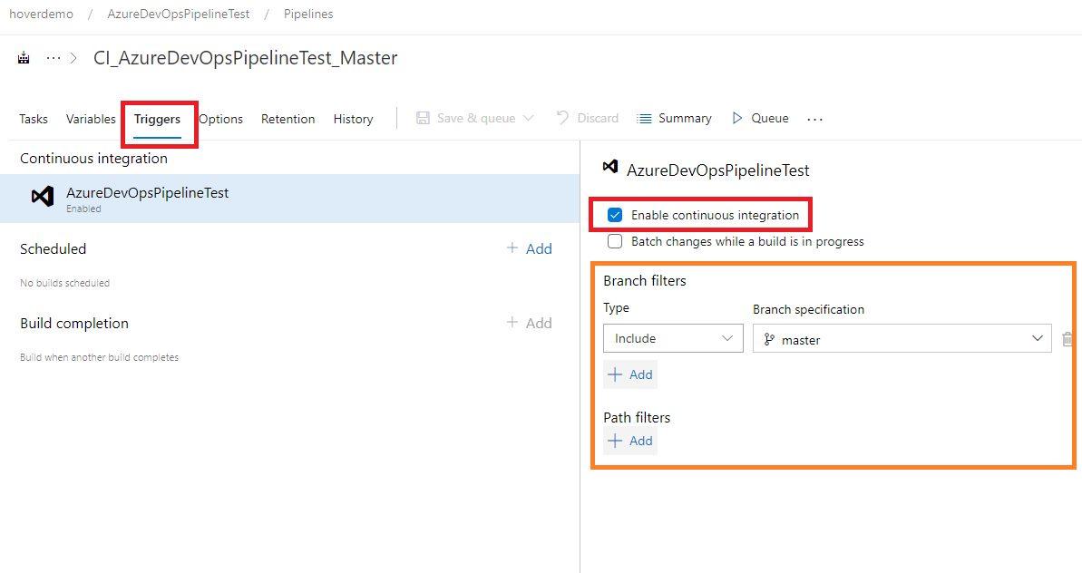 Azure DevOps - creating Continous Integration trigger